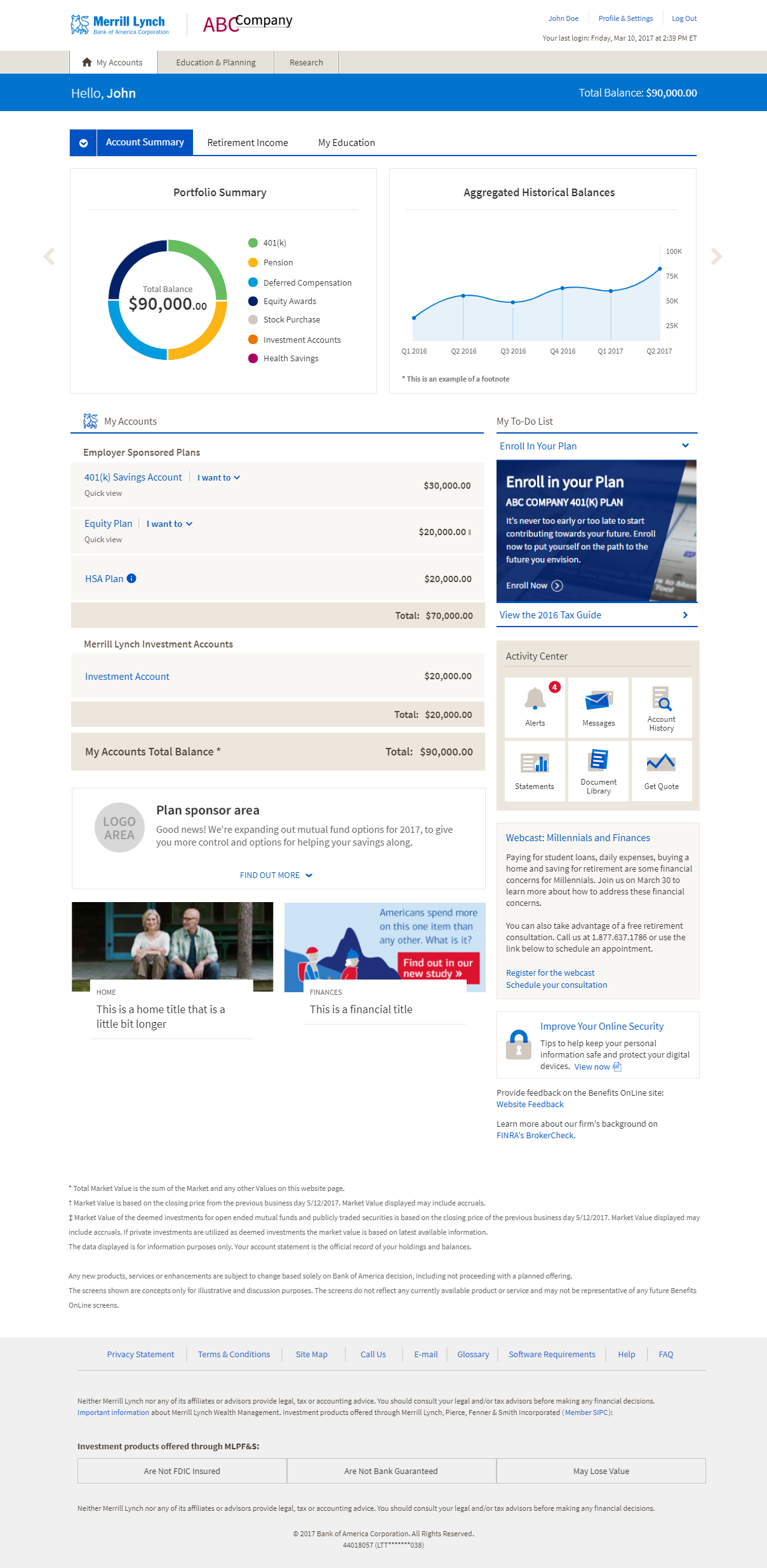 Benefits Online landing with account summary