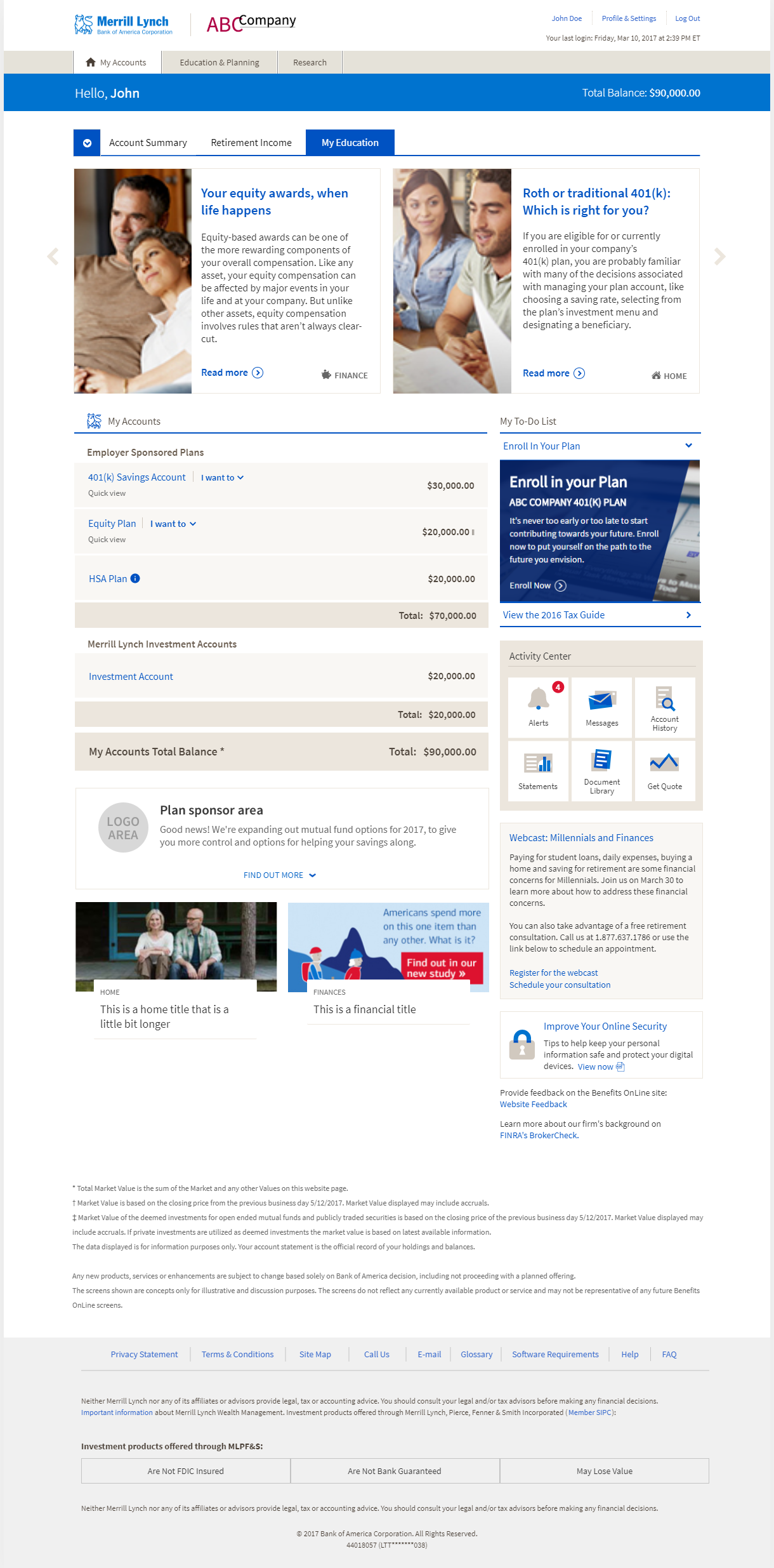 Benefits Online landing with education center