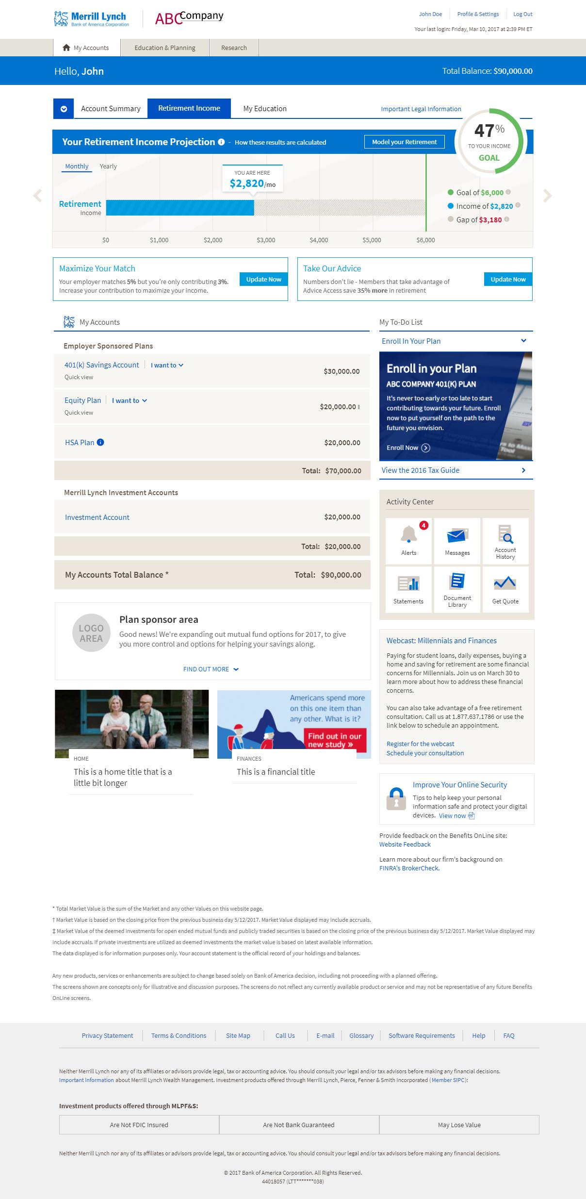 Benefits Online landing with retirement planner