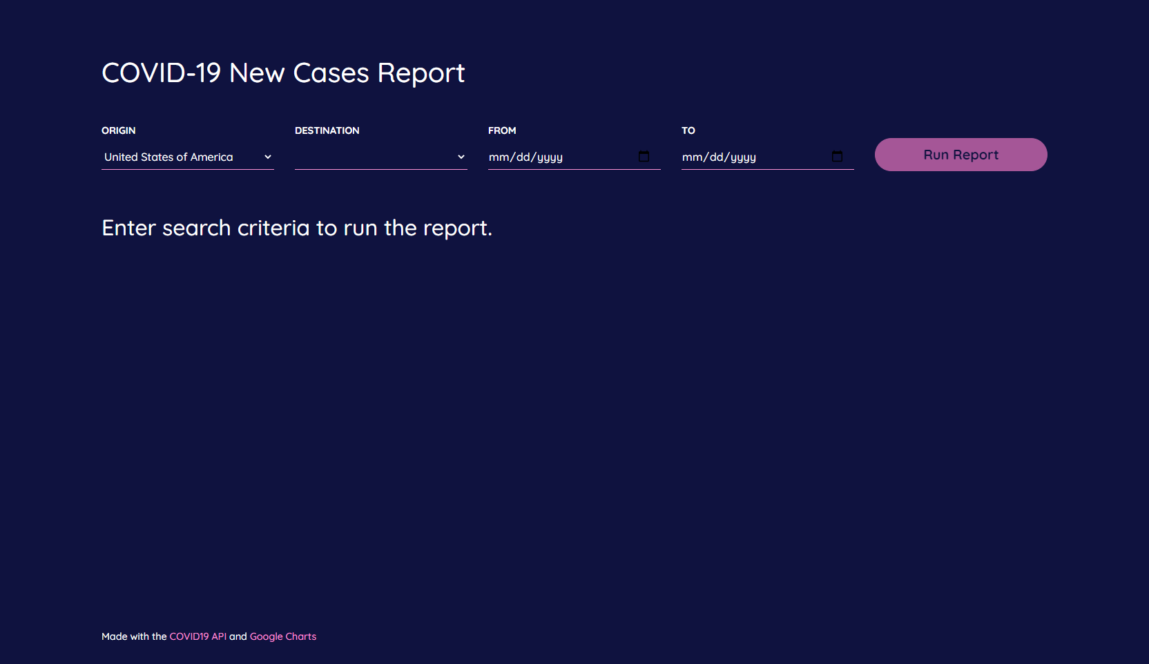 COVID-19 New Cases Report - Search