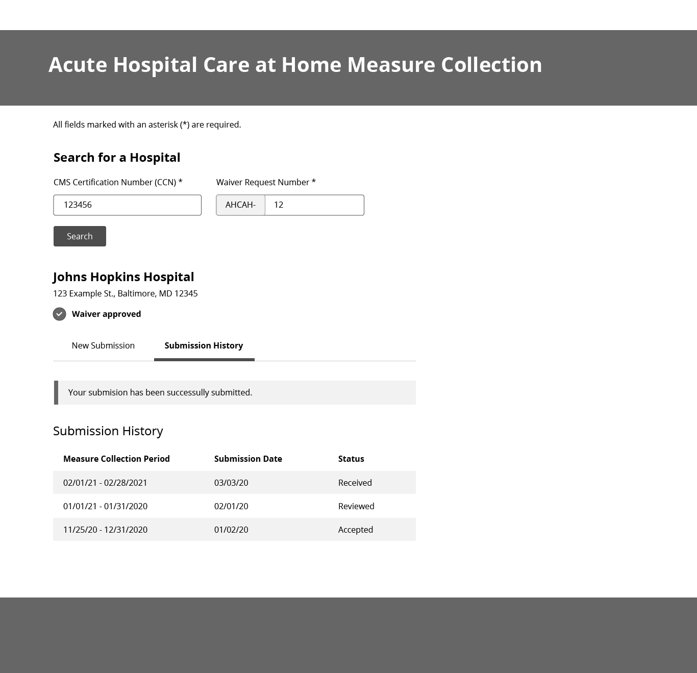 AHCAH reporting measures wireframe 2