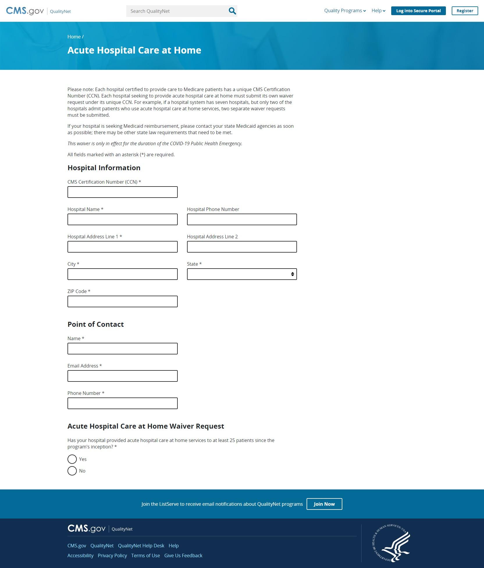 AHCAH waiver request form