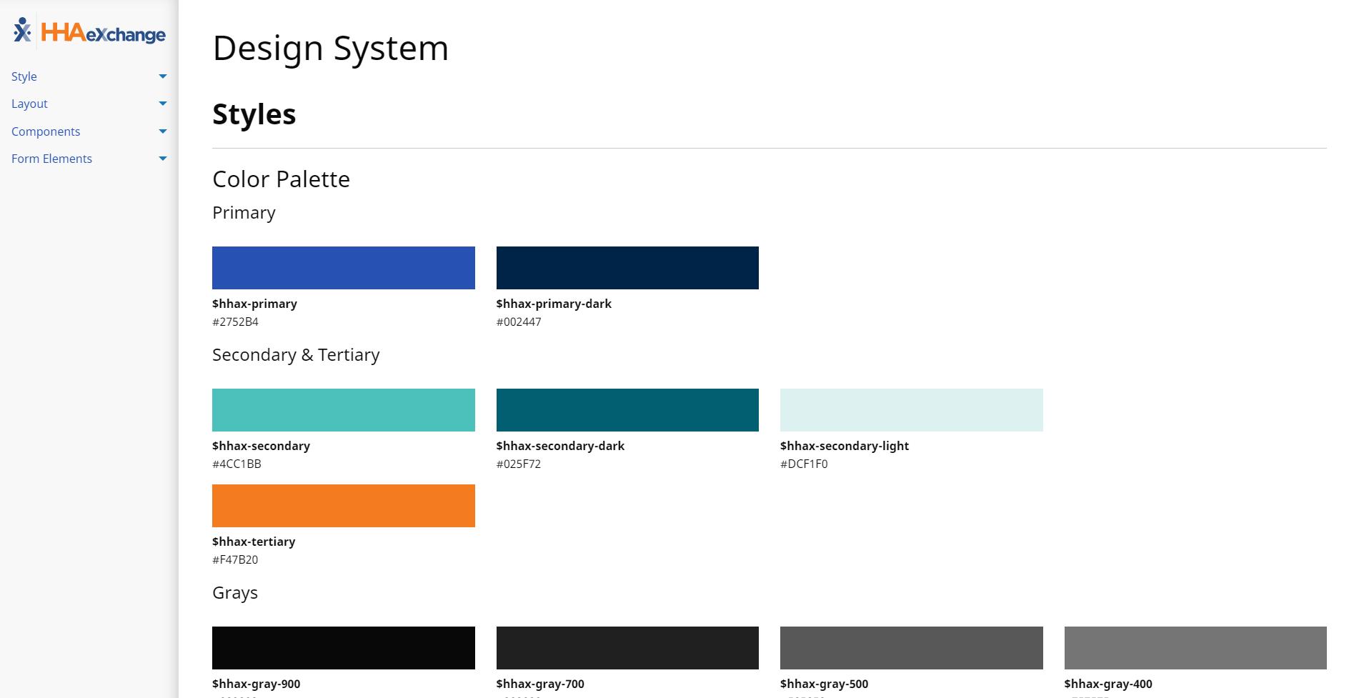 HHA Payer Platform design system