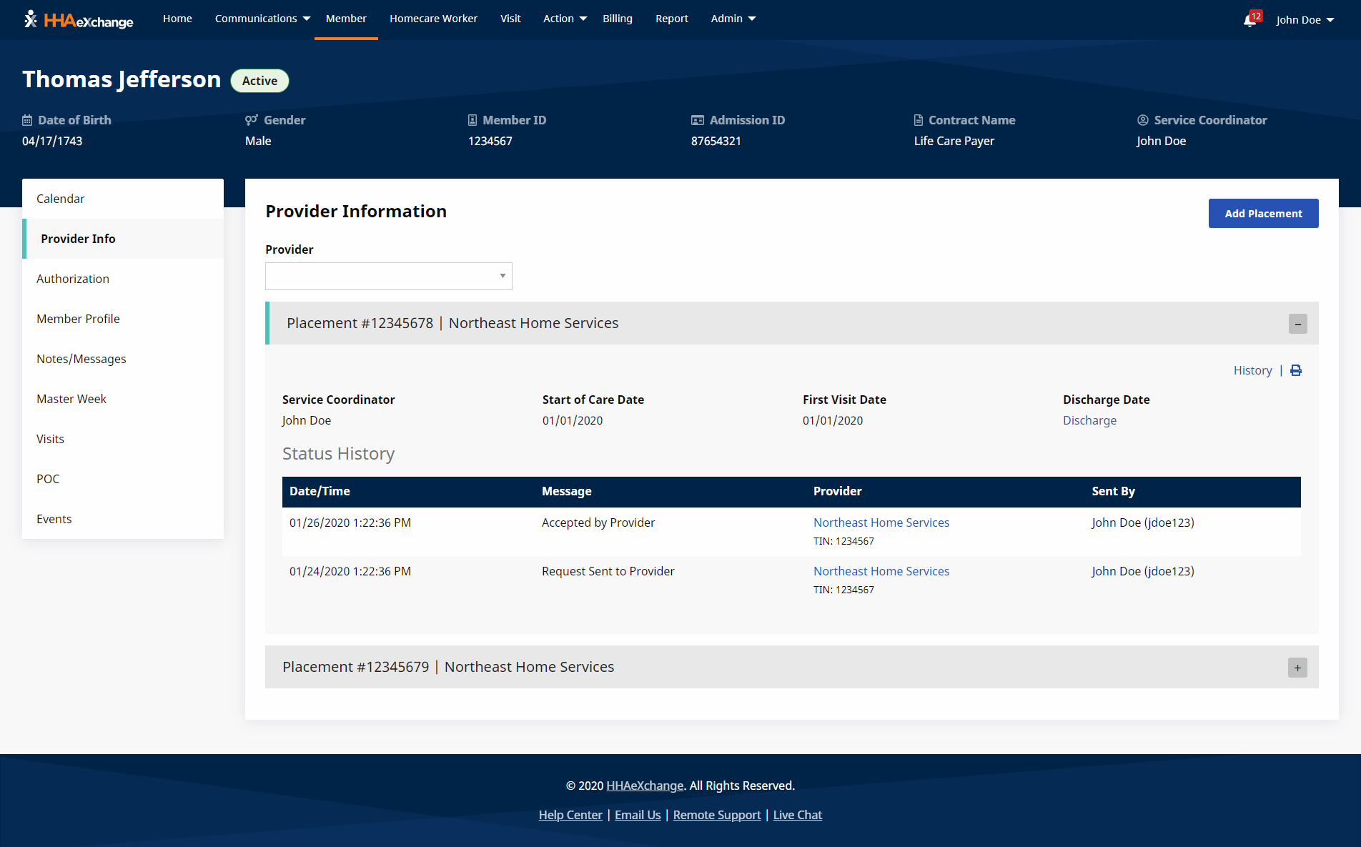HHA Payer Platform member provider info